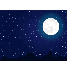 Bright moon and stars during night vector