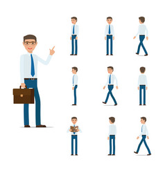 Businessman character collection moving steps vector