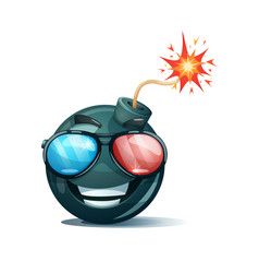 Cartoon bomb fuse wick spark icon cinema vector