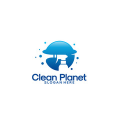 clean planet logo template cleaning service vector image