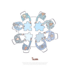 colleagues assembling jigsaw puzzle business vector image