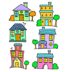 collection of house set doodles vector image
