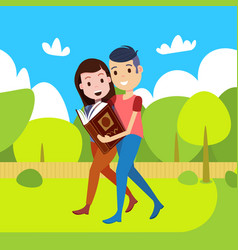Couple woman man reading book going straight park vector