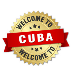 Cuba 3d gold badge with red ribbon vector