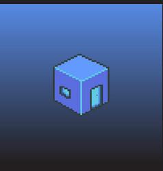Cube blocks home isometric pixel art vector