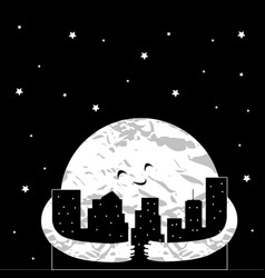 cute cartoon moon in the night city vector image