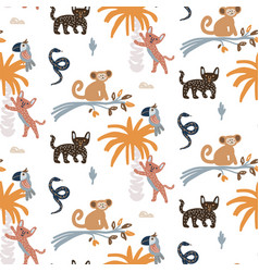 cute jungle animals night scene seamless pattern vector image