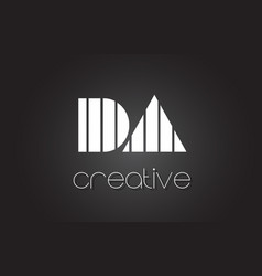 Da d a letter logo design with white and black vector