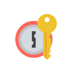 door lock with key icon vector image