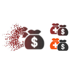 Dust pixel halftone medical fund bags icon vector