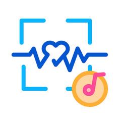 Effect music on heart outline vector