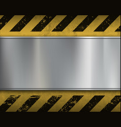 Empty metal plate on a yellow background vector