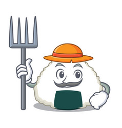 Farmer onigiri character cartoon style vector