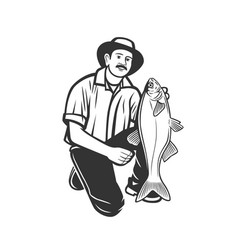 fisherman with a catch vector image