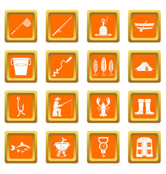 fishing tools icons set orange vector image