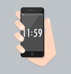 Flat mobile phone with arm and isolated time scree vector
