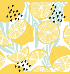 fruit seamless pattern lemons on white background vector image