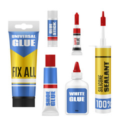 glue packages with stick tube and bottle mockups vector image