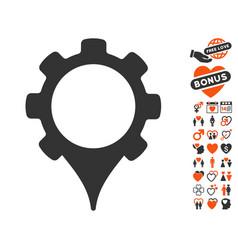 gps settings icon with valentine bonus vector image