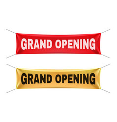 grand opening banners gold red realistic vector image
