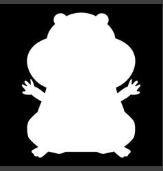 Hamster silhouette white color icon vector
