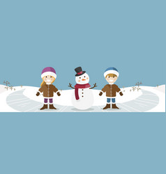 happy children with snowman banner vector image