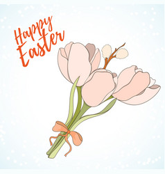 Happy easter hand drawn retro card vector