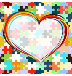 Heart on seamless puzzle background vector