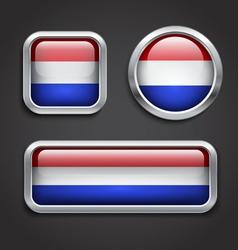 Holland flag glass buttons vector