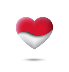 Indonesia flag icon in shape heart waving vector
