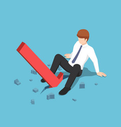 isometric red arrow falling between businessman vector image