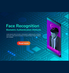 isometric smartphone with facial recognition vector image