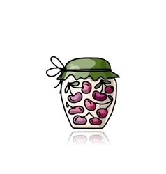 Jar with cherry jam sketch for your design vector image