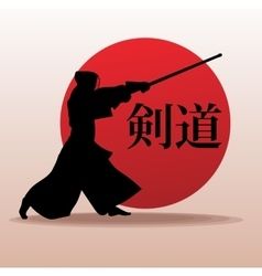 Kendo fighter in traditional clothes silhouette vector