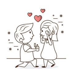 kids in love cartoon vector image
