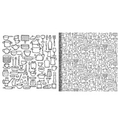 Kitchen doodle hand drawn set and seamless pattern vector