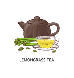 Lemongrass yellow tea concept with clay and vector