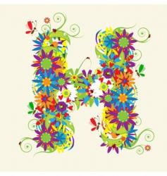 Letter H floral design vector