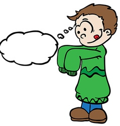Little boy in big clothes with thought bubble vector