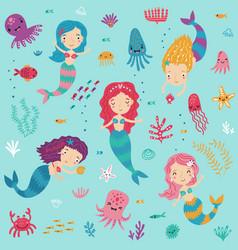 mermaids and sea seamless pattern vector image