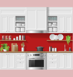 Modern white rustic kitchen with red background vector
