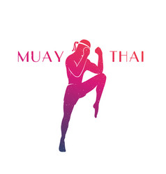 Muay thai athlete silhouette vector
