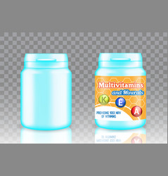 multivitamin complex packaging mockup set vector image