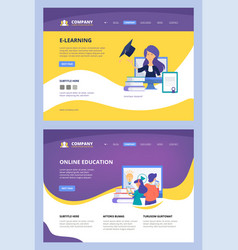 online courses landing web learning training vector image