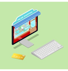 Online shopping isometric computer electronic vector