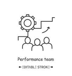 Performance team line icon editable vector