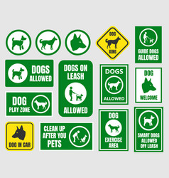 Pet friendly icons dog allowed sign vector