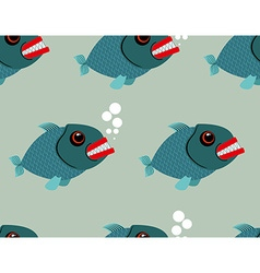 Piranha seamless pattern Toothy fish background vector