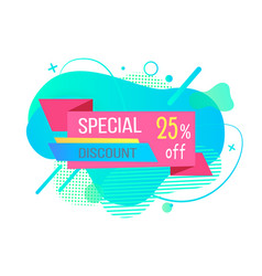 Poster discount and special off label vector