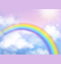 Rainbow sky fantasy heaven landscape rainbow in vector